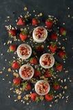 Natuurlijke yoghurt dichte omhooggaand stock foto's