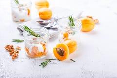 Natuurlijke yoghurt met stukken van abrikozen en rozemarijn stock afbeeldingen