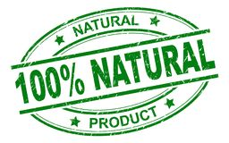 100% natuurlijke zegel Vector Illustratie