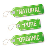 Natuurlijke, Zuivere, Organische etiketten. Royalty-vrije Stock Fotografie