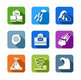 Natuurrampen, gekleurde, vlakke pictogrammen Stock Foto