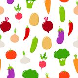 Natuurvoeding naadloos patroon Vectorfruit en groenten op een witte achtergrond royalty-vrije illustratie