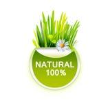 Natuurvoedingetiket met gras Royalty-vrije Stock Foto's