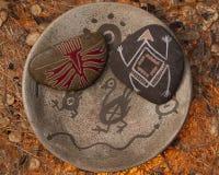 Natve painted rocks Stock Photos