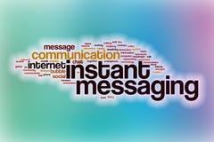 Natychmiastowej przesyłanie wiadomości słowa chmura z abstrakcjonistycznym tłem Fotografia Stock