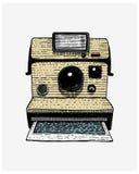 Natychmiastowy fotografii kamery rocznik, grawerująca ręka rysująca w nakreśleniu lub drewna cięcia styl, stary przyglądający ret Obraz Stock