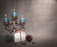 Natyurmotr nytt år med stearinljus Royaltyfri Bild