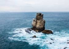 Nau dos Corvos crows, a rocky whim of the sea Stock Images