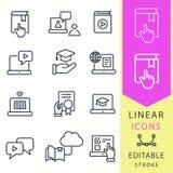 Nauczanie online edukaci ikony Set skalowanie nakrętka, szkolenie, laptop, uczy się online, webinar symbole, Cienieje linię Odizo ilustracji