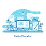 Nauczanie online edukaci projekta pojęcia sieci Online Kreskowy sztandar ilustracji