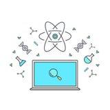 Nauczanie online i online edukacja Internet jako wiedzy baza Chemiczni i fizyczni elementy energia, dna, mikroskop ilustracji