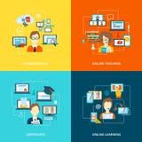 Nauczanie online ikony mieszkanie ilustracja wektor