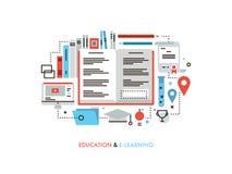 Nauczanie online płaska kreskowa ilustracja ilustracji