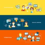 Nauczanie online sztandaru mieszkanie Obraz Stock