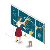 Nauczyciel i dziecko dekorujemy chalkboard z kolorowymi flaga ilustracja wektor