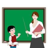 Nauczyciel i uczeń przy deską Obrazy Royalty Free