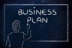 Nauczyciel lub ceo wyjaśnia o planie biznesowym Fotografia Royalty Free
