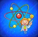 Nauczyciel nauk ścisłych i atomowy ilustracja wektor