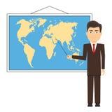 Nauczyciel pokazuje pointeru na mapie royalty ilustracja