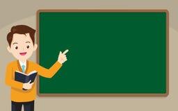 Nauczyciel pozycja przed chalkboard ilustracji