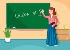 Nauczyciel Wskazuje przy deską Wyjaśnia informację ilustracja wektor