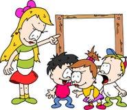 Nauczyciel z dziećmi dyskutuje przy deską ilustracji