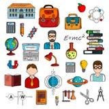Nauczyciel z uczniami i szkolnych dostaw nakreśleniem Zdjęcie Stock