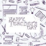 Nauczyciela dzień Szkoła doodles dostawy Szkicowego tło, skład Kawałek notepaper Ręka rysująca wektorowa ilustracja ilustracji