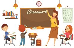 Nauczyciela nauczania ucznie W sala lekcyjnej, światu Książkowy dzień szkoła, Z powrotem, materiały, książka, dzieci, dostawy Fotografia Stock