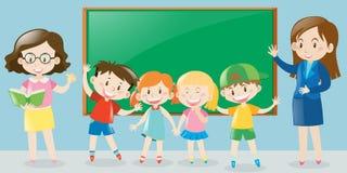 Nauczyciele i ucznie w sala lekcyjnej ilustracji