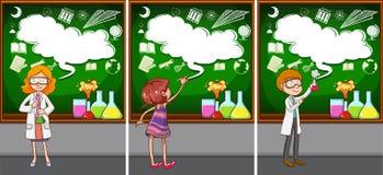 Nauczyciele nauk ścisłych w sala lekcyjnej ilustracji