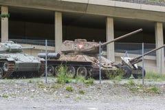 Nauders, Österreich -, am 9. August 2017 Sowjetischer WW2 Behälter, vorbildliches T34/ Stockbilder