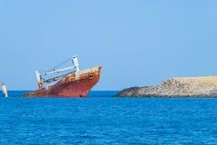 Naufrágio de Norland em Diakofti na ilha de Kythera em Grécia Foto de Stock