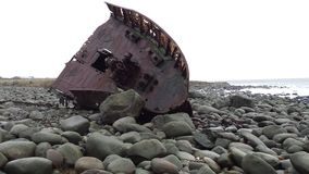 Naufrágio velho na praia fora de Stavanger Noruega Fotografia de Stock