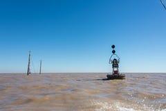 Naufrage à la rivière de Rio de la Plata Puerto Madero au crépuscule Sud A de Saling Photos stock