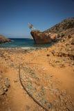Naufrage, Amorgos, Cyclades, Grèce Images libres de droits