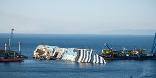 Naufrage de cruis de Concordia Photo libre de droits
