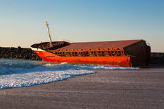 Naufrage de Luno sur la plage d'Anglet Photographie stock libre de droits