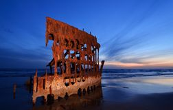 Naufrage de Peter Iredale photographie stock