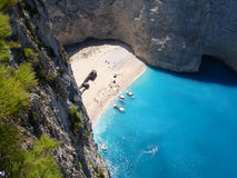 Naufrage sur une plage d'isolement de Zante Photo stock