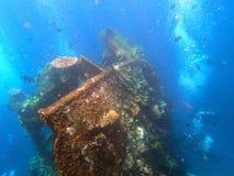 naufrage USS Liberty avec beaucoup de bulles de plongeur - Bali Indonésie Asie image stock