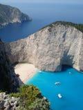 Naufraghi la spiaggia della baia e le scogliere, Zacinto, Grecia Fotografia Stock