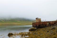 Naufragio dal fiordo di Mjoifjordur, Islanda orientale Panorama islandese fotografie stock libere da diritti