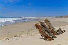 Naufragio dalla costa di scheletro fotografia stock libera da diritti