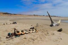 Naufragio de la costa esquelética Fotos de archivo libres de regalías