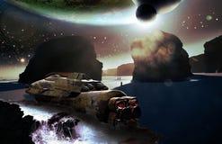 Naufragio della nave spaziale sul pianeta straniero Fotografia Stock