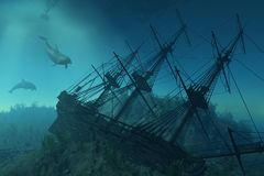 Naufragio sotto il mare Immagini Stock Libere da Diritti