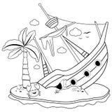 Naufragio su un'isola Pagina in bianco e nero del libro da colorare illustrazione vettoriale