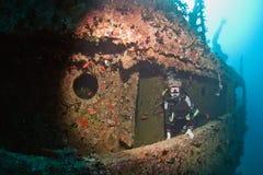 Naufragio Victoria dell'operatore subacqueo fotografia stock libera da diritti