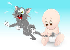 Naughty Baby with Pet Cat. Conceptual Design Art of Naughty Baby with Pet Cat Royalty Free Stock Photography